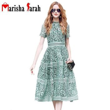 Vintage Lace Floral Runway Dress 2017 New Summer Fashion Women Sexy O-Neck Short Sleeve Green/Lavender Holiday Dress Vestidos