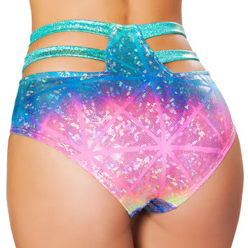 Laser Hologram High Waist Strapped Shorts