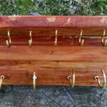 """Jewelry Holder, Natural Wood finish, Shelf, hanger for your necklaces, earrings, bracelets,9 hooks, recycled wood, distressed,8""""x2.25""""x4"""""""