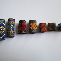 Free shipping 7Pcs/Lot mix fabric hair braid dread dreadlock beads clips cuff approx 8-12mm hole NO.07