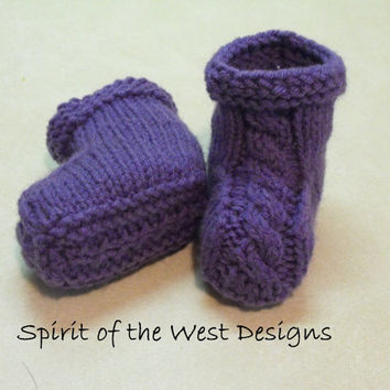 Quick and Easy Cable Baby Booties - Knitting Pattern, Sizes 3 to 12 months, knit moccasin, Newborn booties, Baby Clothes, Baby accessories