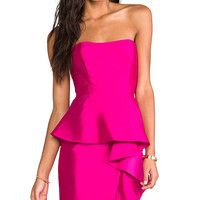 Shoshanna Silk Gazar Melania Dress in Fuchsia