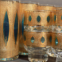 Culver Aqua Tiffany Barware - Gold and Turquoise Rare Pattern Vintage Mid Century Glass Bar Set
