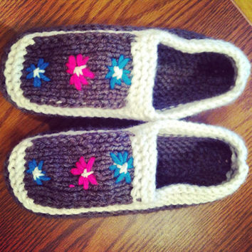 Slippers -christmas-women slippers-gray knit shoes-gray slippers-gestrickte hausschuhe-wool slippers-knit shoes-wool