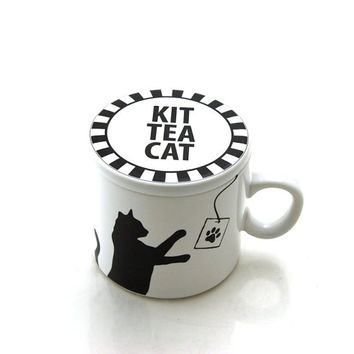 Cat Mug Kit Tea Cat, Cat lover, pet owner, tea drinker, tea cup with lid, teacup and saucer