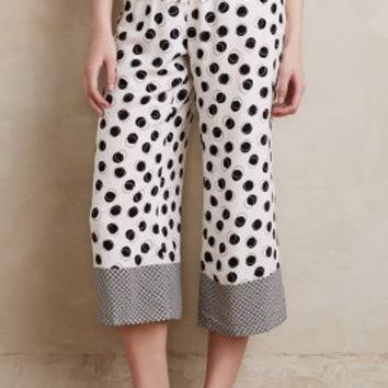 Eloise Cropped Polka-Dot Sleep Pants in Black Motif Size: