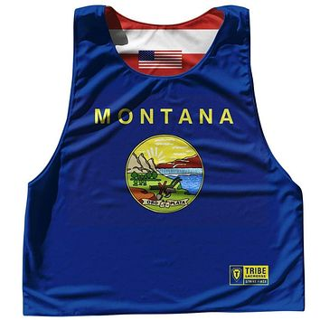 Montana State Flag and American Flag Reversible Lacrosse Pinnie