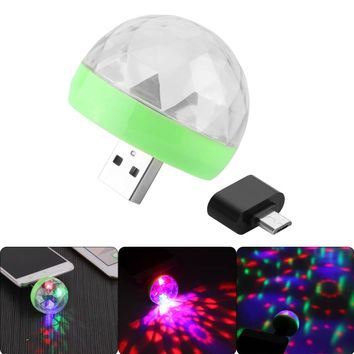 Mini 4-LED Disco Ball USB Power Stage Light RGB Stage Decoration Projector For Party Holiday Decorations With Android Connector