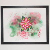 Poinsettia holiday art; Original mixed media painting; Faith inspirational unframed painting