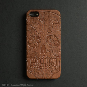 Real wood engraved sugar skull pattern iPhone case S023