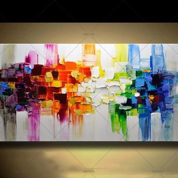Newest Abstract Modern Landscape Handmade colorful Abstract Style Thick Oil Painting on Canvas For Home Decorative Wall Art
