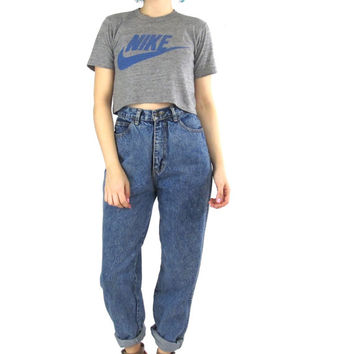 80s 90s Acid Wash Mom Jeans High Waisted Jeans Tapered Leg Jeans Hipster Denim 5 Pockets Medium Wash Loose Fashion Jeans (S/M)