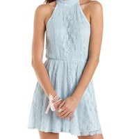 All-Over Lace Mock Neck Skater Dress by Charlotte Russe