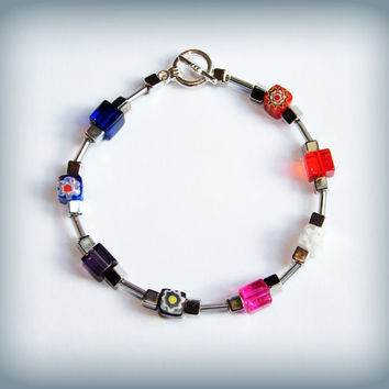 Rainbow, Millefiori and silver bead bracelet with toggle clasp