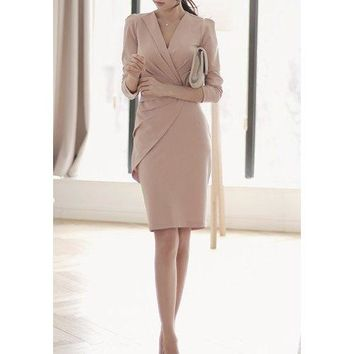 Work Style V-Neck Solid Color Ruched Slimming Long Sleeve Women's Dress