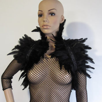 Gothic Feather Lace Stole Wrap Shrug Capelet Collar by Ravennixe