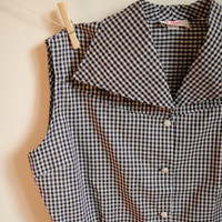 Vintage. 50's. White and Black Checkered Blouse. Large Collar. Sleeveless. Button Up. Tailored. Mad Men. Large L