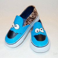 Hand Painted Cookie Monster Shoes