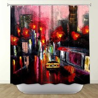 DiaNoche Designs Shower Curtains by Artist Aja Ann Unique, Cool, Fun, Funky, Stylish, Decorative Home Decor and Bathroom Ideas - Faces of the City 145