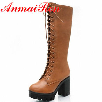 ANMAIRON Black Yellow Big Size 34-43 Lace Up Mid Calf Women Boots Shoes New Square Heel High Boots Winter Fashion Platform Pumps