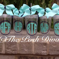 Monogrammed 16 ounce acrylic personalized Tumbler by ThePoshDiva