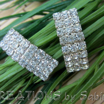 Vintage Rhinestone Earrings / Silver Studs Posts / Elegant Fancy Classy Sparkly / Three Rows Curved / Mid Century / FREE SHIPPING (194)