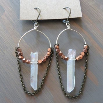 Rose Gold Quartz Hoop Earrings Natural Raw Crystal Point Silver Bronze Chain Dangle Chandelier Ear Jewelry Azeetadesigns Azeeta Designs