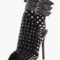 Rockstar Black Peep Toe Rivet Booties