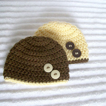 Brown and Cream Baby Beanie Set, Crochet Baby Beanie, Newborn Baby Beanie, Newborn Beanie, Crochet Baby Hat, Set of Two Baby Beanies