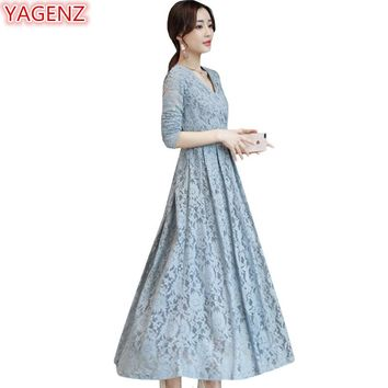 YAGENZ Autumn Lace dress Big Dress Fashion elegant Women Clothes V-neck Temperament Long-sleeved Slim Young women Long Dress 770