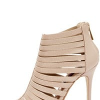 Dollhouse Teaser Nude Caged Peep Toe Heels