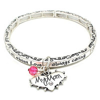 All About Love Charm Bracelet, 'Mom' - This Silver Stretchy Bangle Bracelet Is The Perfect Gift Making Any Mom Feel Special And Loved