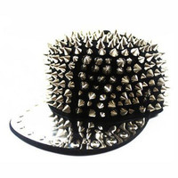 Black and Silver Spiked Riveted Studded Snapback Hat