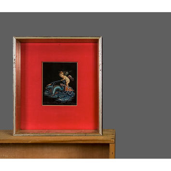 Vintage Miniature Painting - Giovanni Gallo Original Artwork - Framed Gouache Watercolor Painting - POMPEII Ruins Cherub Putti Chariot Race