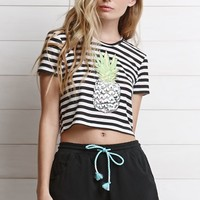 Modern Amusement Cropped Pineapple T-Shirt - Womens Tee - Black