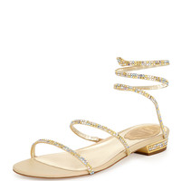 Rene Caovilla Crystal Coil Flat Sandal, Champagne