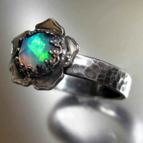 Natural Solid Rose Cut Opal Lotus Ring Sterling Silver