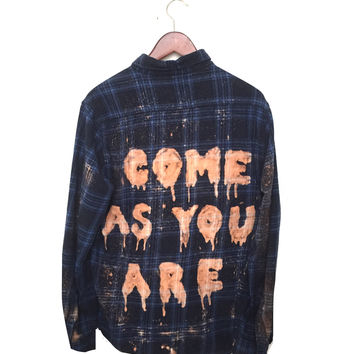 "Plaid Nirvana Shirt, ""Come As You Are"" in Blue"