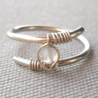 Rainbow Moonstone Wrapped Silver Wire Twisted Ring