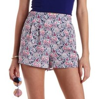 White Combo Paisley Print High-Waisted Shorts by Charlotte Russe