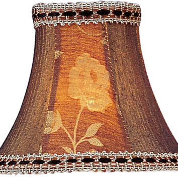 0-009703>3x6x5 Chandelier Bell Lamp Shade Burgundy Floral