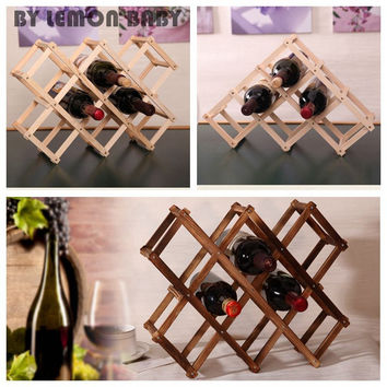 Classical Wooden Red Wine Rack Beer Foldable 3/6/10 Bottle Holder Kitchen Bar Display Shelf Organizer Home Table Decor XHH8043