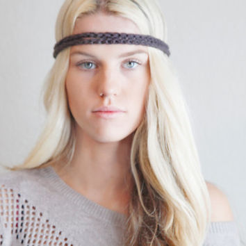 Double Strand Headband Double Braid Hair Band Hippy Style Boho Music Festival Hairwrap in Slate