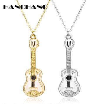 Fashion Cool Jewelry Guitar Pendant Necklace Punk Women Man Charm Necklace Music Fans Best Friends Gifts