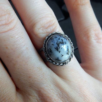 Dendritic Opal and Sterling Silver Ring, Natural Opal Ring, Artisan Ring, Silver Rope Ring, Oxidized Silver Ring, Statement Ring, Oval Stone