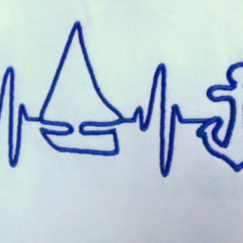 EKG heart beats for sailing embroidery and applique design