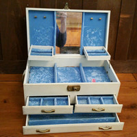 Vintage Large White Faux Leather Jewelry Box with Blue Velvet Interior And Key Great For Jewelry Storage and Display