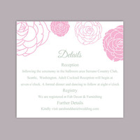 DIY Wedding Details Card Template Editable Word File Instant Download Printable Details Card Floral Pink Details Card Rose Information Card