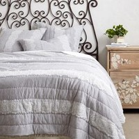 Laced Jersey Quilt by Anthropologie Grey King Bedding