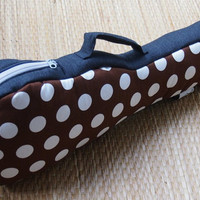 SALE - Ready to ship - The Brown - Brown and White Polka dot Ukulele Bag (Concert size) Custom made